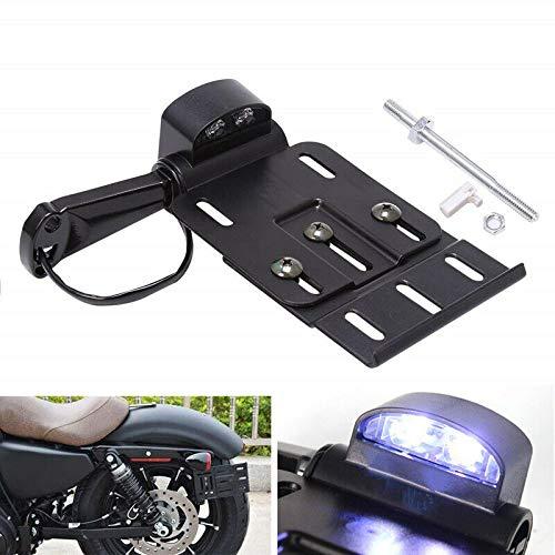 YC Motorcycle LED Rear Tail Light Side Mount License Plate Frame Holder Bracket foldable fit for Harley Sportster XL883 XL1200 48 04-UP with Hardware Kit (Black)