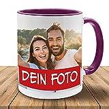 Tasse mit eigenem Foto, Bildtasse in vielen Farben, Kaffeetasse/Fototasse mit brillantem Aufdruck, Becher, spülmaschinenfest, Violett-Weiß