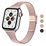 Wanme Correa Compatible con Apple Watch Correa 44mm 42mm 40mm 38mm, Estrecha y Fina Pulsera de Repuesto de Acero Inoxidable Hebilla de Metal para iWatch Series 5 4 3 2 1 (38mm/40mm, Rosa)