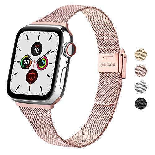 Wanme Correa Compatible con Apple Watch Correa 44mm 42mm 40mm 38mm, Estrecha y Fina Pulsera de Repuesto de Acero Inoxidable Hebilla de Metal para iWatch Series 6 5 4 3 2 1 SE (38mm/40mm, Rosa)