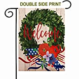 ZUEXT Welcome to Our Home Christmas Wreath Garden Flag 12.5 x 18 Inch, Vertical Double Sided Floral Cotton Linen House Yard Flag, Burlap Merry Christmas Garden Yard Flag Decoration Gift