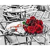 WYTTT Puzzle 1000 Teile Landschaft Erwachsene Puzzle Holzpuzzle 3D Klassisches Puzzle Rote Rose Schwarz Weiß DIY Moderne Kunst Hauptdekor,75X50Cm