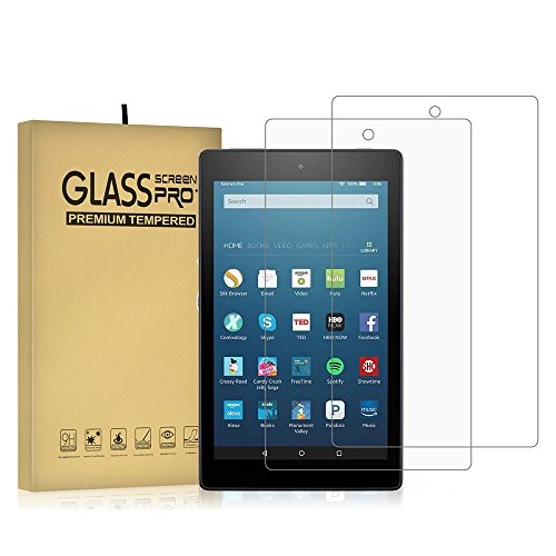 DIEBI 2 Pack Temper Glass Screen Protector for Fire HD 8 9H Hardness Crystal Clear Scratch Resistant All-New Fire HD 8 Tablet (2016 2017 2018 2019 Release), Not Fit Fire HD8 Plus 2020 Released