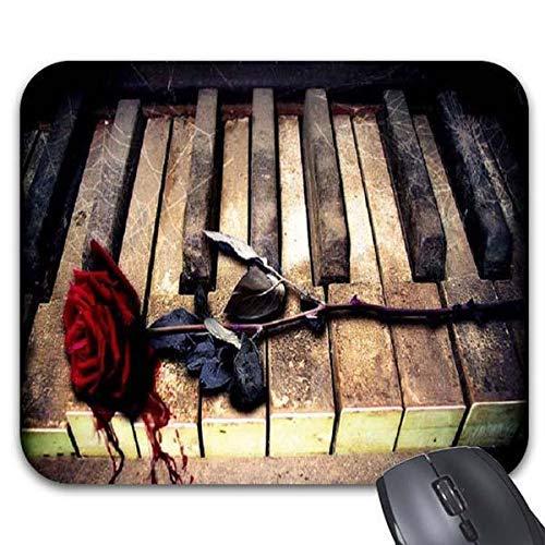 Mausmatte,Gummiunterseite,Pad Maus Unterlage,Anti Rutsch Matte,Gaming Mausepad,30X25CM,Rose Und Broken Piano Mouse Pad