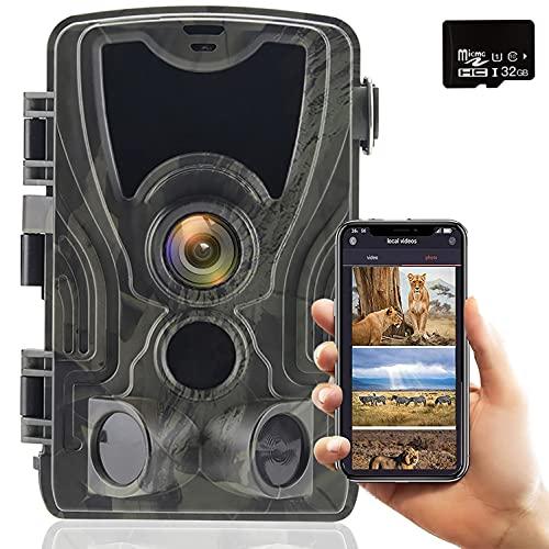WLAN 30MP 4K Low Glow IR Night Vision Caccia Gioco Camera con Rilevatore di Movimento Trasmissione Telefono Cellulare 120 ° Grandangolare Impermeabile IP66 E Scheda di Memoria 32G