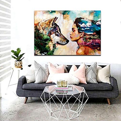 wopiaol Sin Marco Chica Lobo Pintura Abstracta Colorida Decoración del hogar Dormitorio Colgante Pintura Arte de la Pared sobre Lienzo Dropshipping