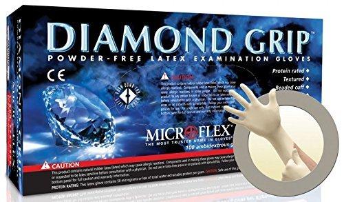 Microflex Medical MF-300-XL X-Large Natural 9.645'' Diamond Grip 6.3 mil Latex Ambidextrous Non-Sterile Medical Grade Powder-Free Disposable Gloves, English, 15.34 fl. oz., Plastic, 1