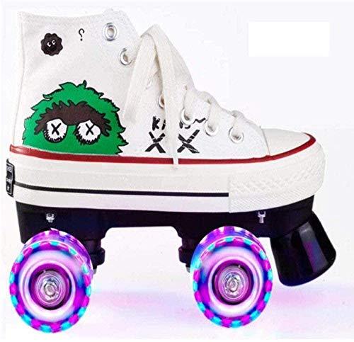 BHDYHM Zapatos De Lona De Color Patines De Ruedas De Doble Fila Patines De Ruedas con Flash Zapatos De Ruedas Entrenamiento Al Aire Libre Hombre Mujer,White-43