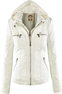 Womens Short PU Jacket Faux Leather Zipper Jacket with Removable Hood Tops Coats Jackets