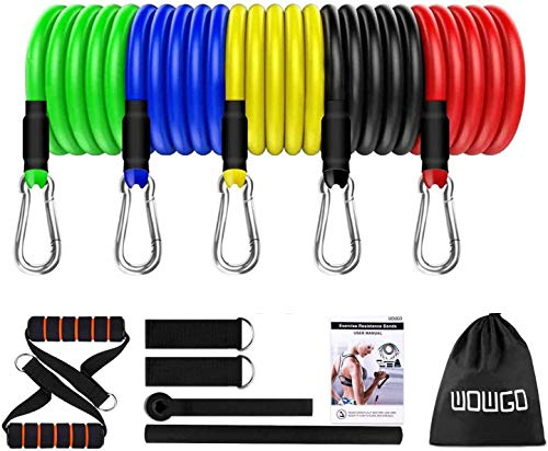 Resistance Bands 12 In 1 Widerstandsband Set, 5 Fitnessbänder Set 100lbs Expander Tubes Bänder Widerstandsbänder mit Griffe, Knöchelriemen, Türanker und Tragetasche, für Home Gym/Yoga/Pilates