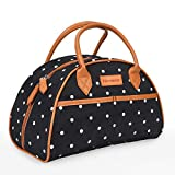 Tirrinia Insulated Lunch Bag for Women w/Leather Handle, Reusable Tote Bag for Men & Kids, Fashionable Cooler Lunch Box for Working/School/Picnic - Black Dot