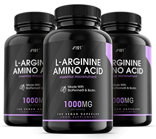 L-Arginine with BioPerine & Biotin Capsules - 1000mg - Potent Amino Acids - Non-GMO, Gluten Free, 120 Vegan Capsules (3 Pack)