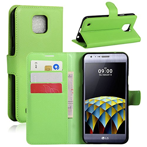 HL Brothers LG X Cam Hülle, HualuBro [All Aro& Schutz] Premium PU Leder Leather Wallet HandyHülle Tasche Schutzhülle Hülle Flip Cover mit Karten Slot für LG X Cam Smartphone (Grün)