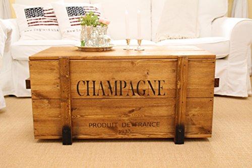 Uncle Joe´s Truhe Champagne Couchtisch Truhentisch im Vintage Shabby chic Style aus Massiv-Holz in braun mit Stauraum und Deckel Holzkiste Beistelltisch Landhaus Wohnzimmertisch Holztisch nussbaum - 2