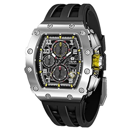 TSAR BOMBA Herren Uhr Tonneau Design Chronograph Armbanduhr 50M Wasserdichter Luxus Skelett Markenuhren Stilvolles Sport Männer Uhren Japanisches Quarzwerk Saphirglas Geschenk für Männer