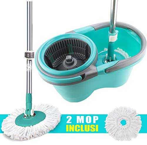 MAURY'S Wheel Mop Set Mocio Rotante Lavapavimenti con Panno Microfibra Secchio Strizzatore 360° e Manico Estendibile (MOCIO Completo di 2 MOP)