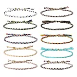 Jeka Handmade Wrap Friendship Braided Bracelet for Women Girls - 10Pcs Colorful Wrist Cord Rope Adjustable Boho Birthday Gifts-Party Favors