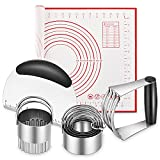 🎯Pastry Cutter, Biscuit Cutter, Dough Scraper, Silicone Baking Mats, Stainless Steel Pastry Blender Set, Dough Cutter Biscuit Cutter Baking Pastry Mat Dough Blender Tools & Pastry Utensils (5 Pcs/Set) 💖Heavy Duty & Non-Slip: Perfect Pastry Blender St...