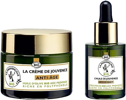 La Provençale Bio - Routine Visage Anti-Âge Crème Jour & Sérum Nuit Certifiée Bio - Huile d'Olive AOP Provence - Pour...