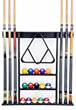 Cue Rack Only - 6 Pool Cue - Billiard Stick Wall Rack Made of Wood Choose Mahogany, Black or Oak Finish