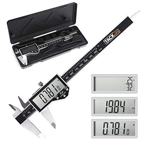 TACKLIFE Digital Vernier Caliper 6 inch Measuring Tool, IP54 Waterproof Stainless Steel Electronic Caliper with large LCD screen,Inch/MM/Fraction for Home use and Professional Measurement- DC04