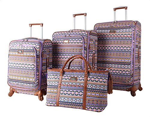 Nicole Miller Collection 4-Piece Luggage Set: 28', 24', 20' Spinners and Shopper Tote (Purple)
