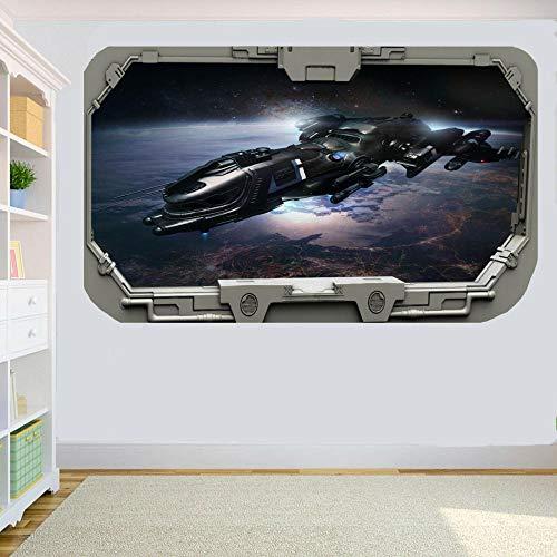 Raumschiff auf der Erde Raumschiff Fenster Wandaufkleber Raumdekoration Aufkleber Wandbild 80x125cm