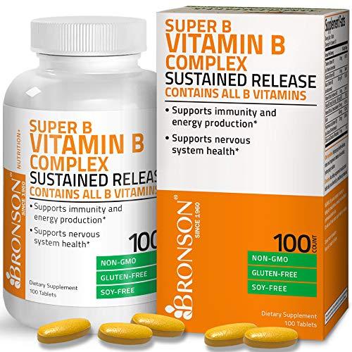 Bronson Super B Vitamin B Complex Sustained Slow Release (Vitamin B1, B2, B3, B6, B9 - Folic Acid, B12) Contains All B Vitamins 100 Tablets