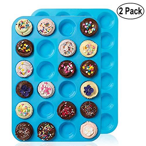 Moulle Silicone Muffin Anti-AdhÉSif Pour 24 Mini Muffins 1 / 2 Pack, Alimentaire Sans BPA RÉUtilisables Ecologiques 24 Mois De Garantie cup cakes Brownies Gâteaux couleur bleu rouge (2 Pack, Bleu)