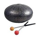 Dattatreya Aum Cum Steel Tongue Happy Drum Pan with Rubber Musical Mallet and Travel Bag for Meditation Yoga Zen Sound Healing, 8-inch