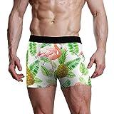 NaiiaN Patrón de Hoja Tropical Bird Flamingo Piña Fruit Bulge Pouch Stretch Boxer Trunk Calzoncillos para Hombre