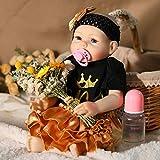 UCanaan Reborn Baby Dolls Full Silicone Body 20 Inch Lifelike Baby Reborn Toddler Girl Toy with Gift Set