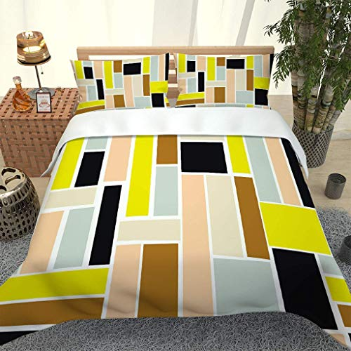 788 DRIVICO Duvet Cover Set. Easy Care And Super Soft Microfiber Design. Color Rectangle Pattern Printed Patterned.Zipper Closure.Anti-Allergic.Bedding Set-Size:135X200 Cm + 2 Matching Pillowcase
