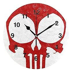 Jojogood Red Skull Head Skeleton Clock Wall Decor Acrylic Decorative Round Clock for Home Bedroom Living Room Art