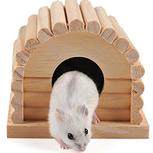 Namgiy Niche en bois pour hamster, gerbilles, rats, écureuils pour petits animaux de compagnie 10 x 10 x 8 cm