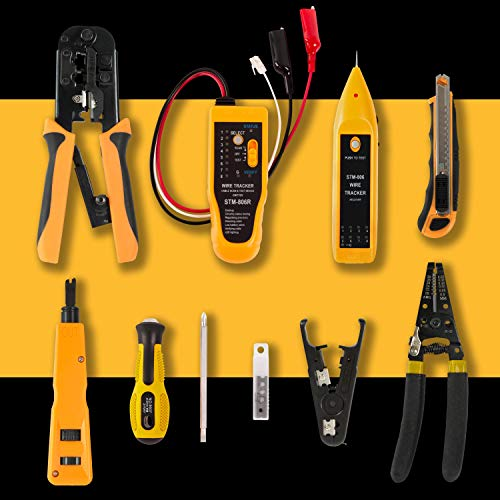 InstallerParts Network Repair Tool Kit 15 In 1 – Electronic Tool Set | Crimping Tool, LAN/Ethernet/Cat5/Cat6 Cable Tester, Gauge Wire Stripper Cutting Twisting Tool, Punch Down, Screwdriver, Knife