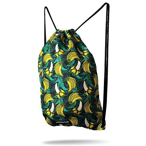 Vibedration Drawstring Backpack   Lightweight Gym Bag, Sport Sack (Banana Jungle)