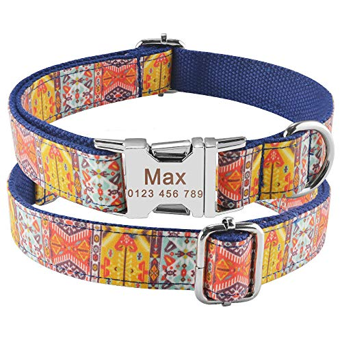 Collar de Nailon Ajustable Collares de Etiqueta de identificación de Cachorro de Mascota Personalizados Collares dePerros con NombreGrabado PersonalizadoPerrospequeños medianos Grandes-