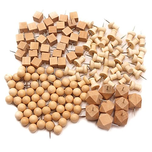 Dekorative Holz Thumb Tacks Push Pin Nadel Pinnadeln Stecknadeln Reißnägel,144 pack