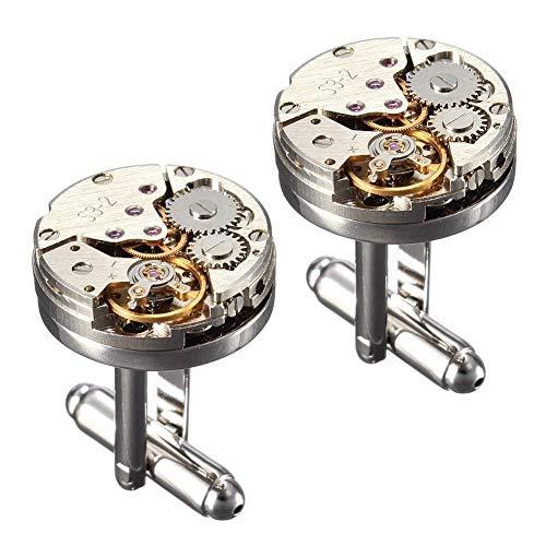 weichuang Gemelos de moda para mujeres y hombres mecánicos reloj de movimiento gemelos manga camisa botones bala aviones modelado gemelos gemelos gif gemelos