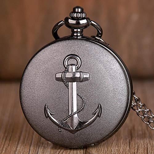 Taschenuhr Bronze Pirat Anker Quarz Taschenuhr Antik Männer Frauen Anhänger Halskette Taschenuhr Geschenke Uhr Taschenuhr mit Kette (Farbe: schwarz)