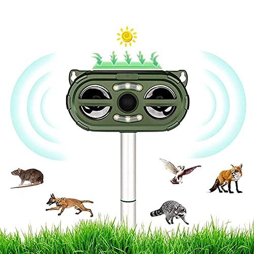 Repellente per Gatti, Repellente Ultrasuoni Energia Solare, Frequenza Regolabile per Allontanare Animali, Animali Repellente deterrenti volpe scoiattoli topi e uccelli per cortile, campo, fattoria