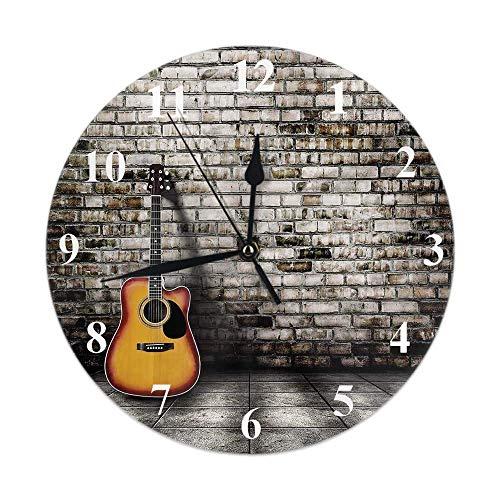 GOSMAO Reloj de Pared,Reloj de Guitarra Guitarra en habitación vacía en Blanco con Fondo de Pared de ladrillo Antiguo, Reloj de Escritorio Decoración del hogar para Cocina Sala de Estar Oficina