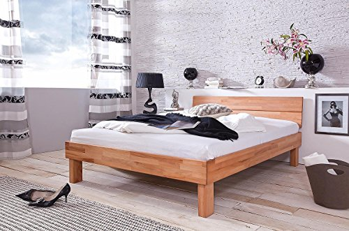 SAM Massiv-Holzbett 180x200 cm Elisa, Bett aus geölter Kernbuche, geschlossenes Kopfteil, natürliche Maserung
