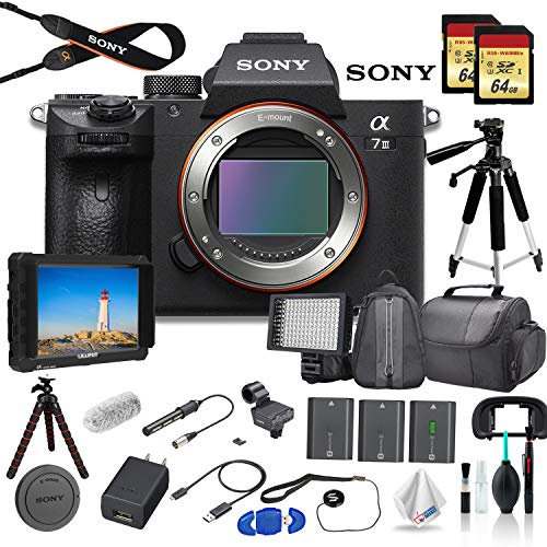 Sony Alpha a7 III Full-Frame Mirrorless Digital Camera (Body Only) Bundle - with Bag, Tripod, 2X Extra Batteries, Mic, LED Light, HD Monitor, 2X 64GB Memory Card, Sling Bag, and More.