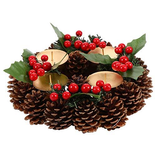 ABOOFAN Decoración Tradicional de Corona de Adviento de Navidad 4 Porta Velas Centro de Mesa de Navidad Decoraciones de Mesa con Cinta de Cono de Pino Adornos de Bayas de Acebo Rojo