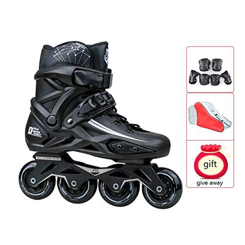 mfwwewe Outdoor Mens Adult Breathable Black Inline Skates ComboProfessional High end Speed Roller Skates For Beginner And Teen Color A Size 41 EU8 US7 UK255CM JP