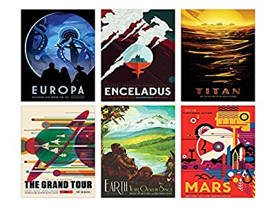 NASA Space Wall Decor - Set of Six 8x10 Glossy Prints - Perfect Future Planet Travel Room Art Posters by TnT Prints