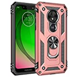 Military Grade Drop Impact for Motorola Moto G7 Play Case 5.7 inch 360 Metal Rotating Ring Kickstand Holder Magnetic Car Mount Armor Shockproof Case for Moto G7 Play Protection Case (Rose Gold)