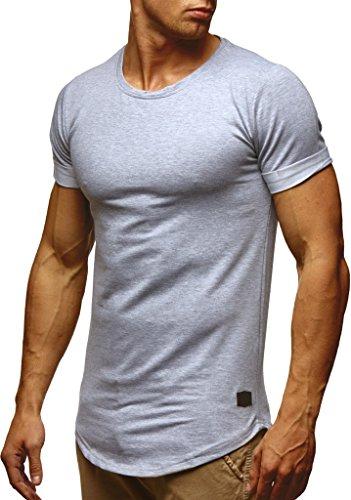 Leif Nelson Herren Sommer T-Shirt Rundhals-Ausschnitt Slim Fit Baumwolle-Anteil Moderner Männer T-Shirt Crew Neck Hoodie-Sweatshirt Kurzarm lang LN6368 Grau Medium
